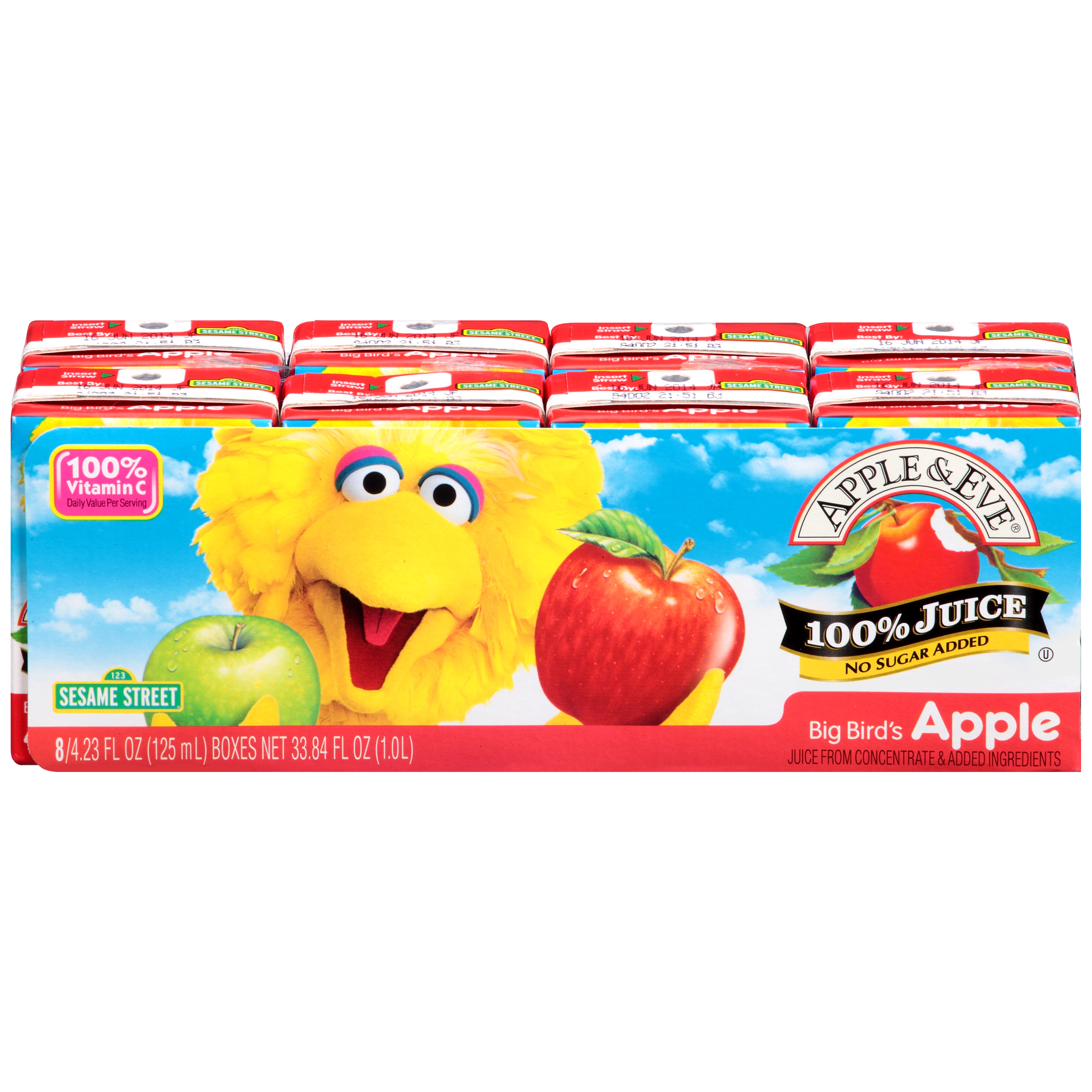 Apple & Eve Sesame Street 100% Juice, Apple, 4.23 Fl Oz, 8 Count