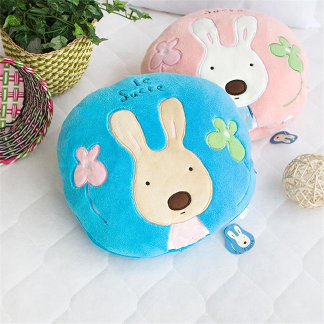 HT-CB001-BLUE-25.2by37 Sugar Rabbit - Round Blue Blanket Pillow Cushion / Travel Pillow Blanket