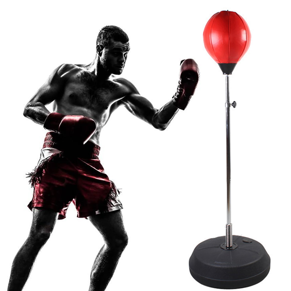 NEW STANDING ADJUSTABLE ADULT BOXING BALL AND GLOVES FITNESS TOOL SET