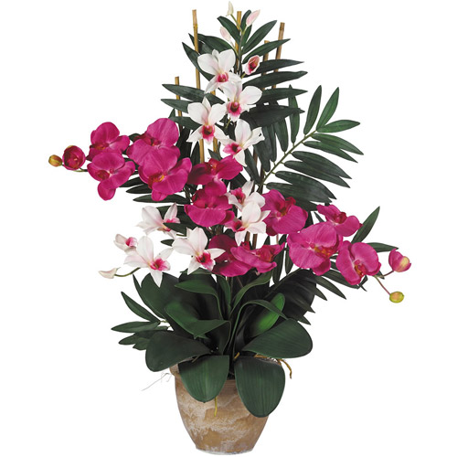 Double Phal/Dendrobium Silk Flower Arrangement, Beauty/White