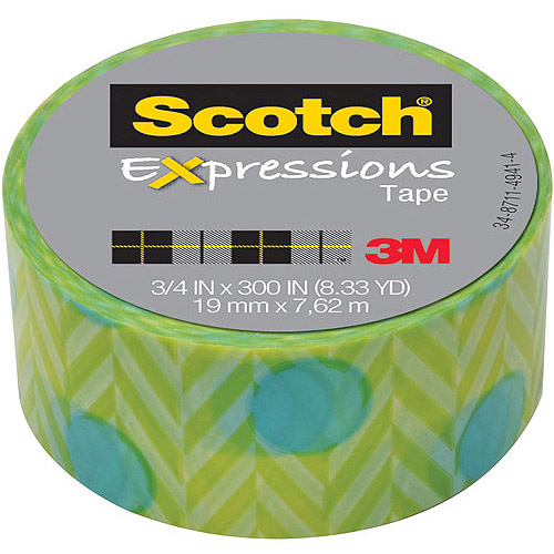 "Scotch Expressions Magic Tape, 3/4"" x 300"", Blue Green"