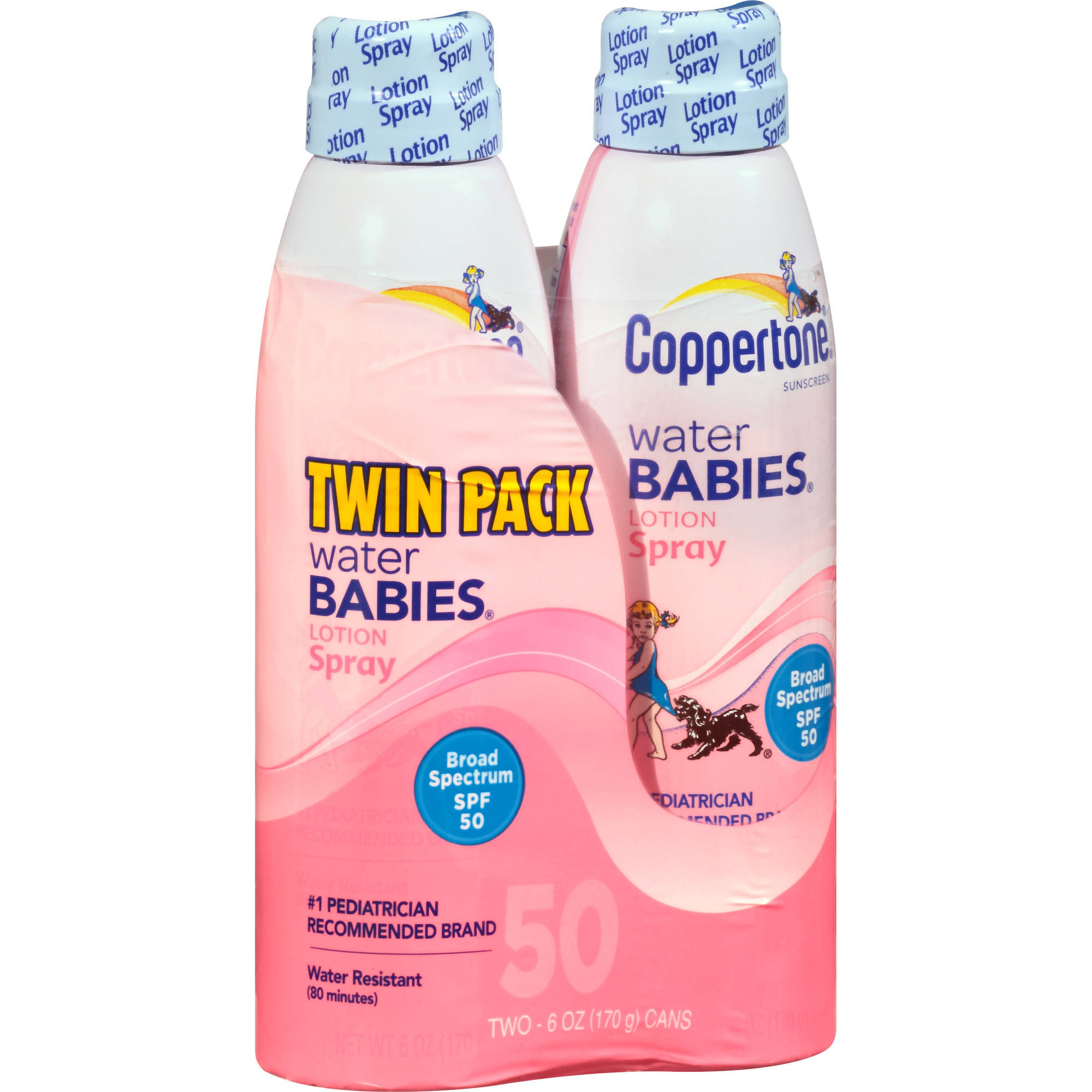 Coppertone Water Babies Lotion Spray Sunscreen, SPF 50, 6 fl oz, (Pack of 2)
