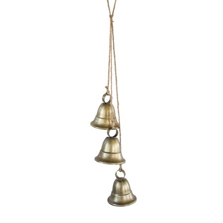 Antique Brass Distressed Finish - Pack of 2 Antique Inspired Distressed Brass Finish Decorative 3 Bells on Rope 14.75