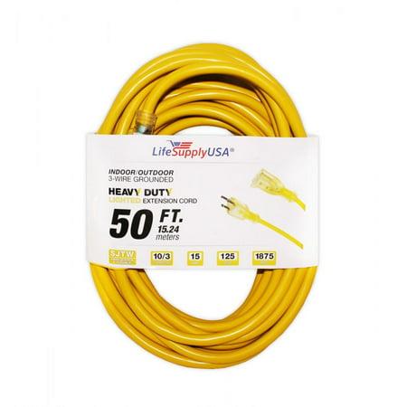 10 Pack 10 3 50ft SJTW Lighted End Extension Cord 15 Amp 300 Volt 1875
