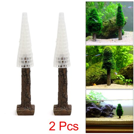 2Pcs Plastic Moss Christmas Tree Trunk Aquascape Ornament for Aquarium Fish