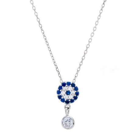 18K White Gold Clear and Blue Cubic Zirconia Evil eye Necklace (18k Eye)