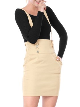 Women's High Waist Straight Braces Above Knee Suspender Skirt