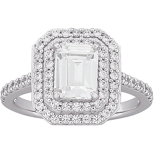 3.8 Carat T.G.W. Emerald-Cut CZ Engagement Ring in Sterling Silver
