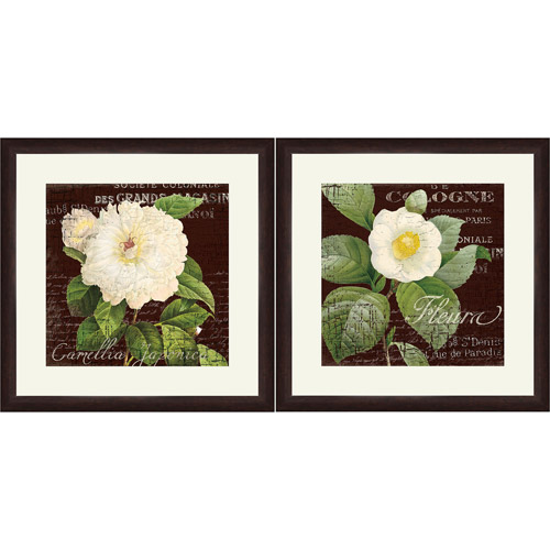 "Framed Graphic ""White Camillia"" Wall Art, 18"" x 18"", Set of 2"