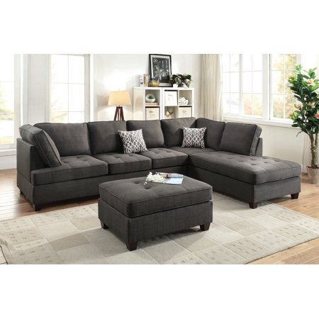 Ash Black Dorris Fabric Smooth Textured Sectional Sofa Chaise 2pcs Set Tufting Couch Living Room Furniture Home