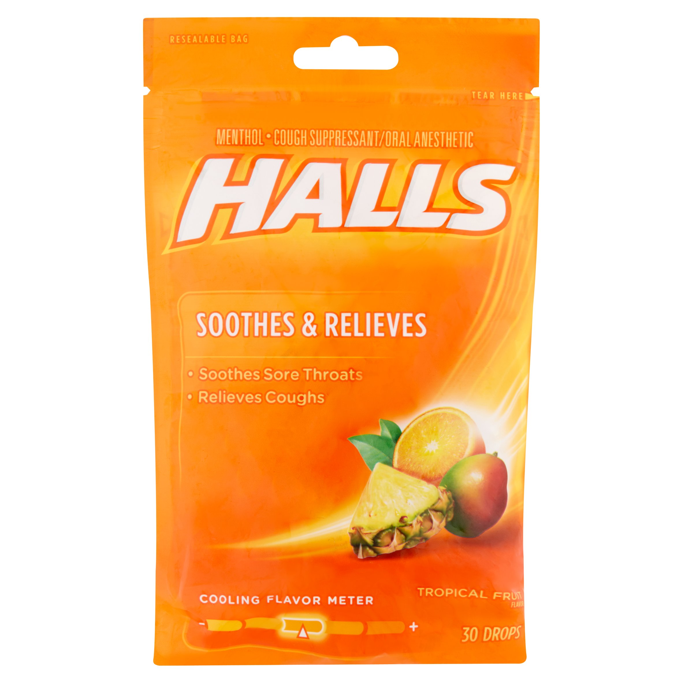 Halls Tropical Fruit Flavor Menthol Cough Suppressant/Oral Anesthetic Drops, 30 count