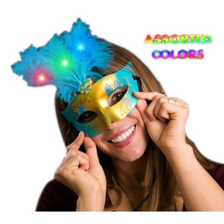 Light Up Feather Masquerade Ball Assorted Mask For Mardi Gras](Mardi Gras Ball Gowns)