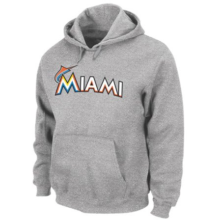 "Miami Marlins Majestic "".300 Hitter"" Hooded Sweatshirt Grey by"