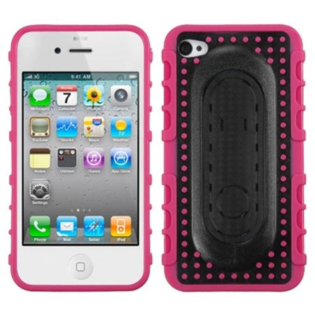 Insten Hot Pink Massage Dots Snap Tail Stand Case with Package For APPLE iPhone 4 - Message Stand