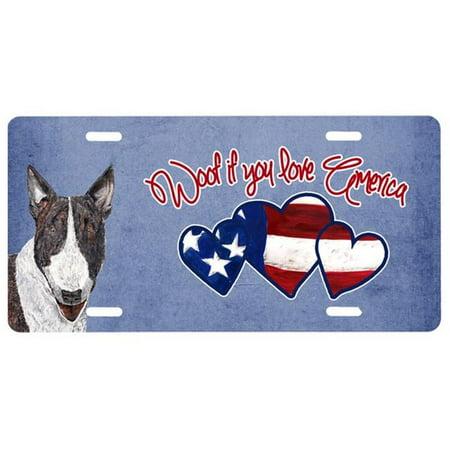 Carolines Treasures SC9927LP Woof If You Love America Bull Terrier License Plate - image 1 de 1