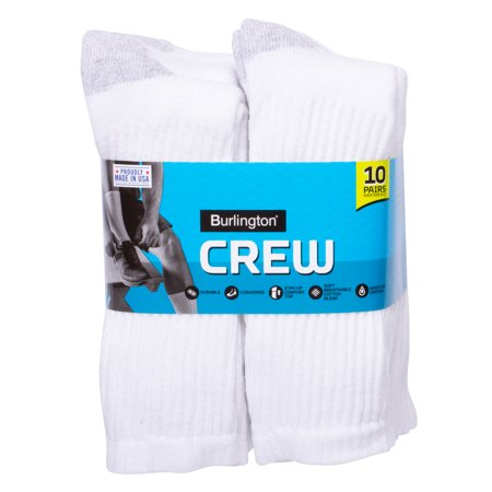 Burlington Comfort Power Men's Cotton Crew Socks (10-Pack)