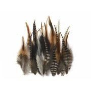 1 Dozen - Short Grizzly Mix Rooster Hair Extension Feathers