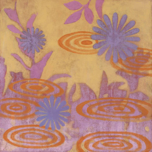Oopsy Daisy - Blue and Purple Floral in Orange Pond Canvas Wall Art 14x14, Sally Bennett