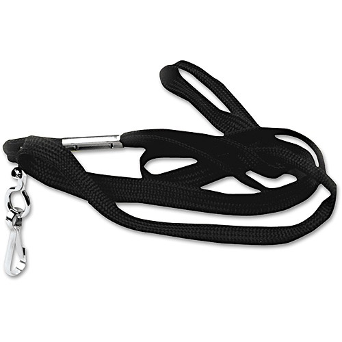 "Advantus Deluxe Lanyards, J-Hook Style, 36"" Long, Black, 24/Box"