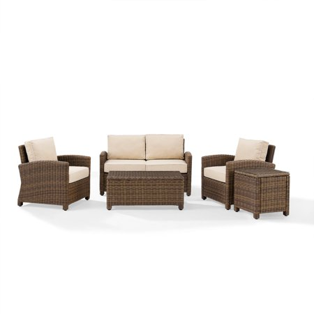 Crosley Outdoor Wicker Conversation Cushions Loveseat Two Arm