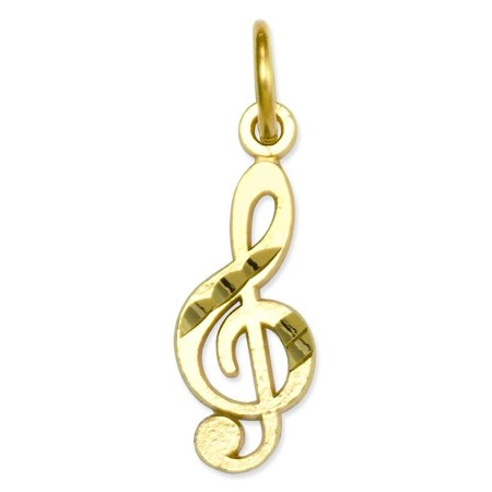 Gold Treble Clef Note Charm (14K Gold Treble Clef Charm Music Note )