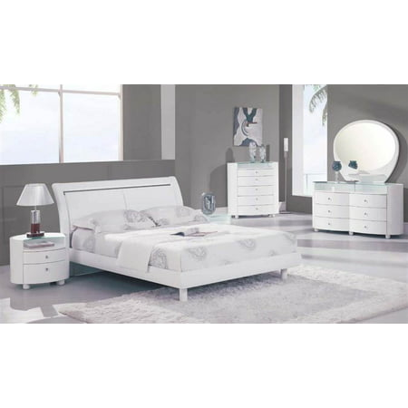 5 pc sleigh bedroom set in white finish queen