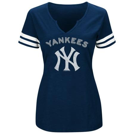 New York Yankees Snowman - Women's Majestic Navy/White New York Yankees Decisive Moment V-Notch T-Shirt