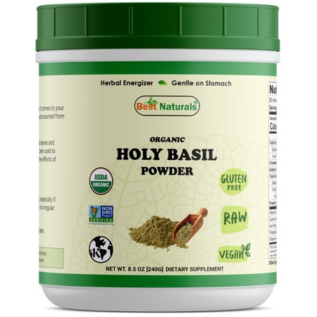 Best Naturals Certified Organic Holy Basil Powder 8.5 OZ (240 Gram), Non-GMO Project Verified & USDA Certified