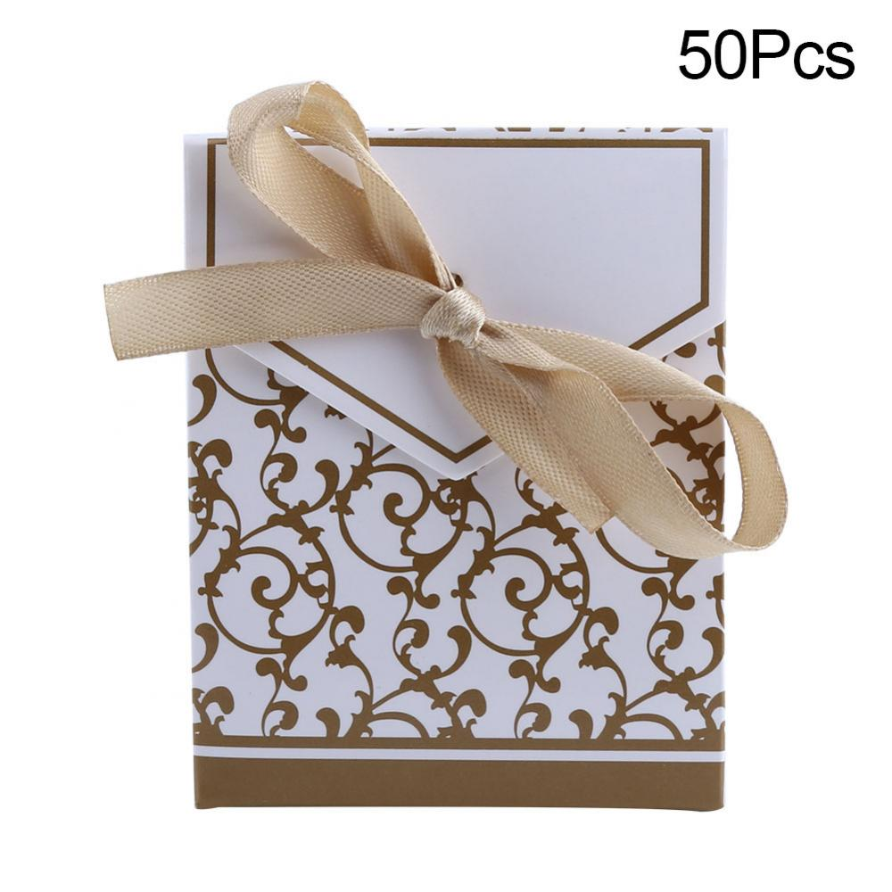 Wedding Candy Box, Wedding Favor Paper Bag,Fosa 50Pcs/bag Elegant Candy Paper Boxes Romantic Weeding Party Favor Gift Bags with Ribbon