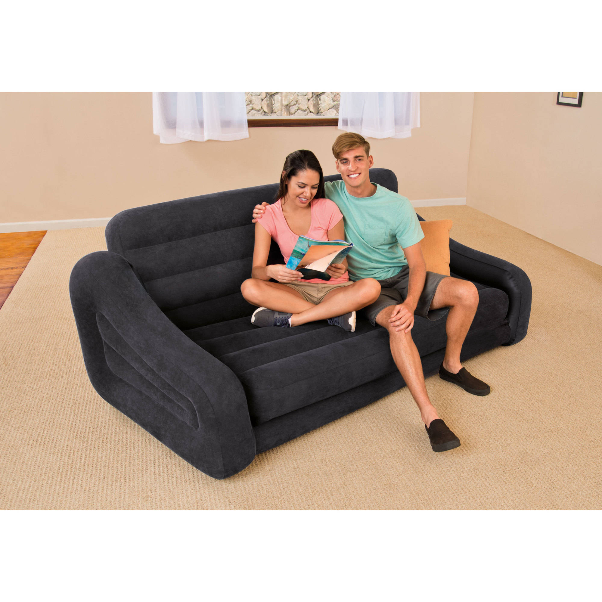 intex queen inflatable pull out sofa bed - walmart