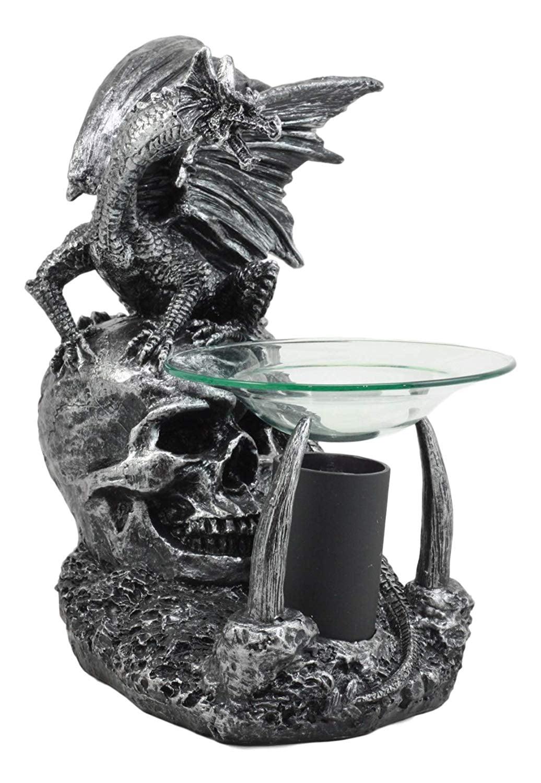 Ebros Skull Graveyard Dragon Electric Oil Burner Or Tart Warmer Statue 8 5 Tall Walmart Com Walmart Com