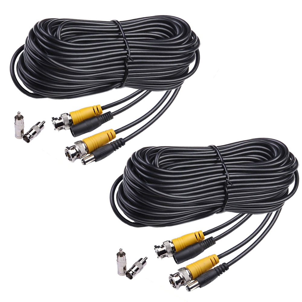 Masione 2 Pack 50 Feet Security Camera Video Power Cable CCTV DVR Surveillance System Wire Cord with BNC RCA Connector