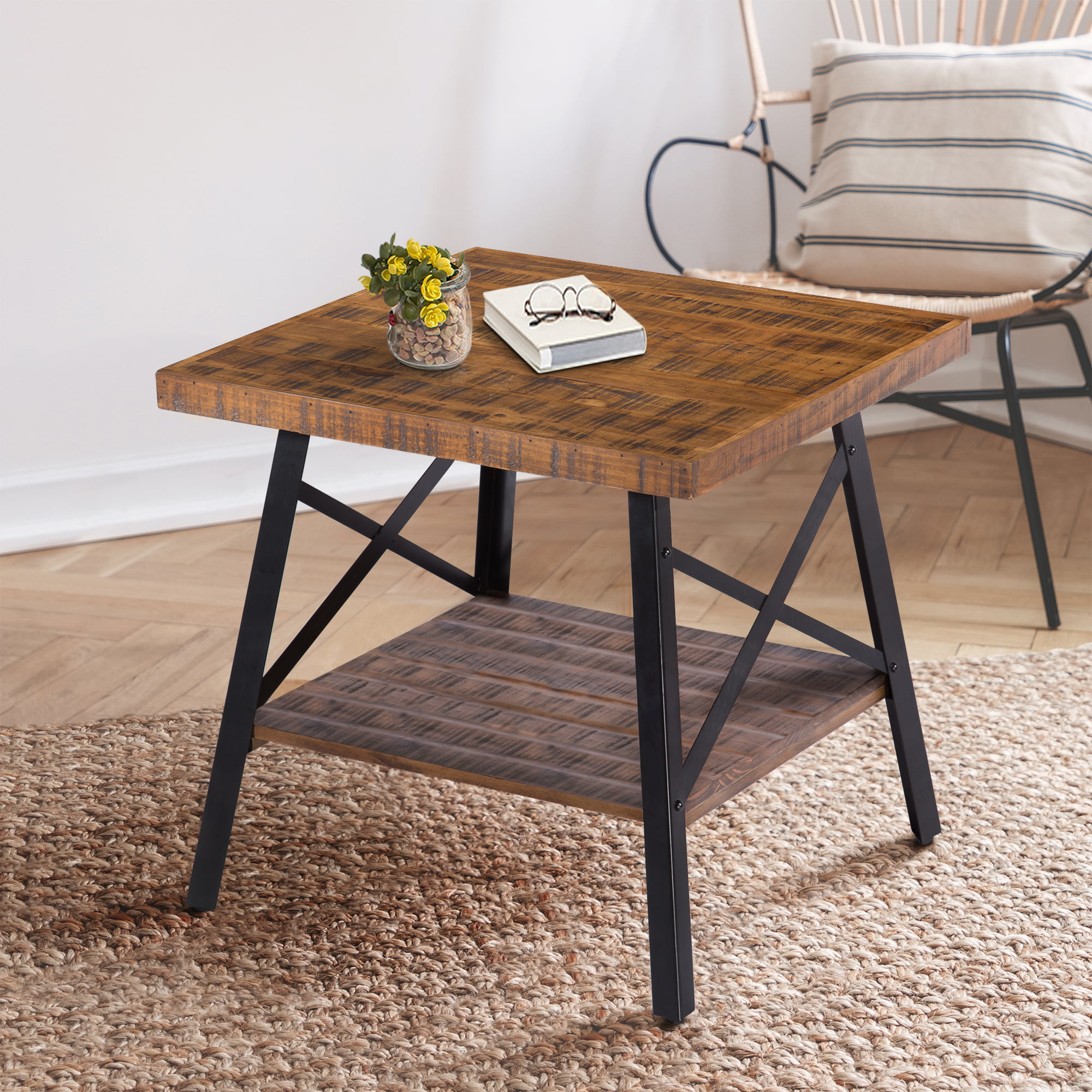 Picture of: Granrest 24 End Table With Open Shlef Rustic Brown Walmart Com Walmart Com