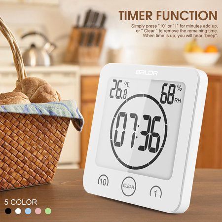 5 Colors Waterproof Digital LCD Shower Clock Strong Bath Suction Wall Humidity Temperature Bathroom Countdown Alarm Timer (Halloween Countdown Clock Widget)