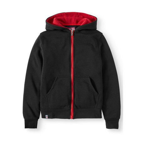 Big Boys' Fleece Hoodie With Contrast Zipper and Hood Lining