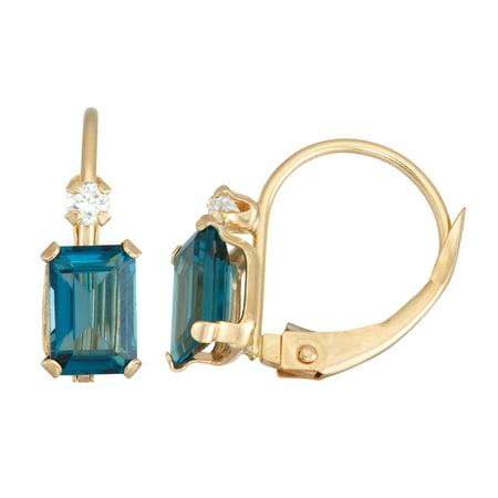 10K Gold gemstone leverback earrings