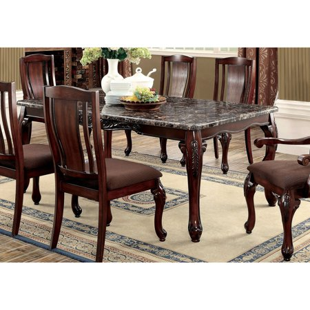 Furniture of America Delaine Traditional Faux Marble Top Dining Table