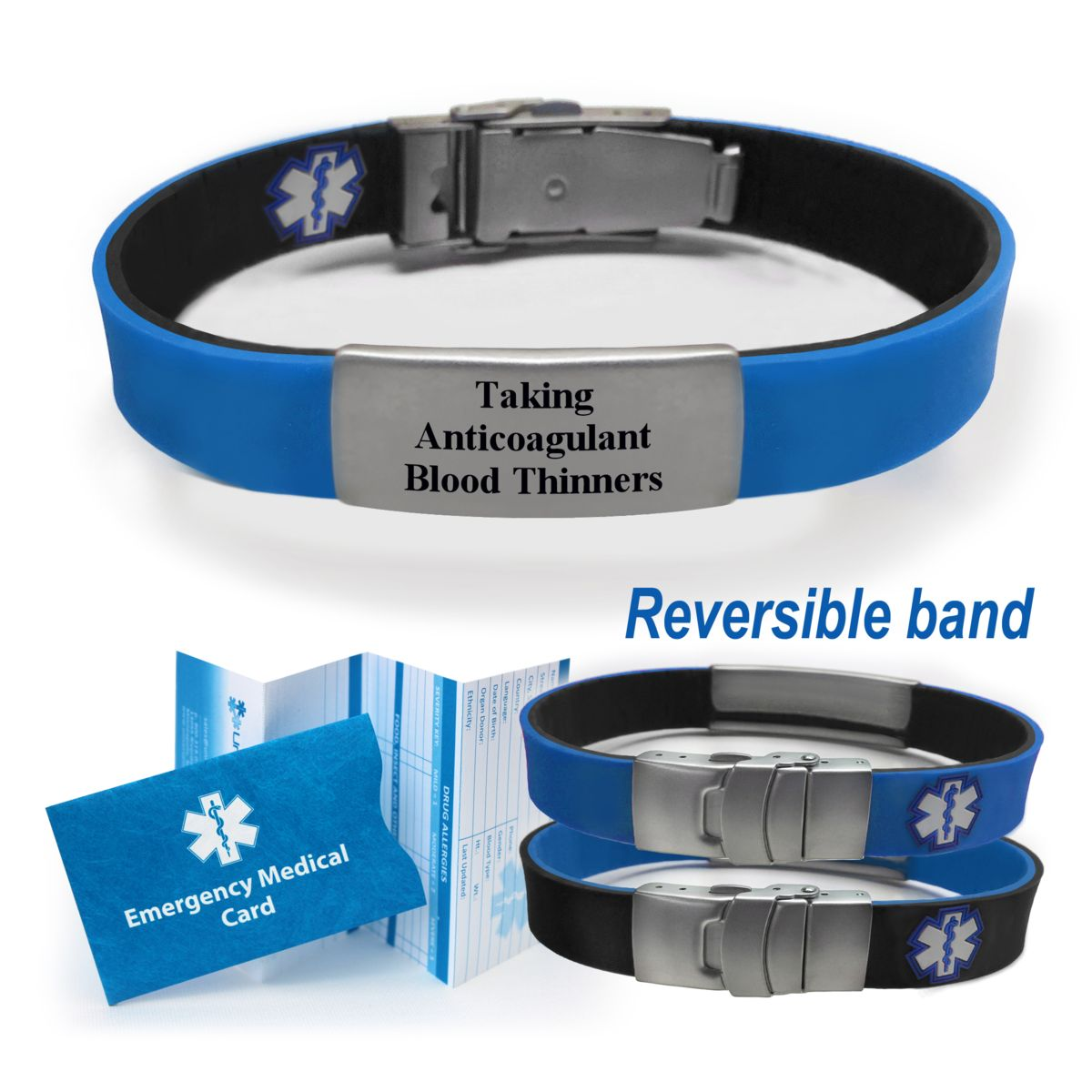 Universal Medical Data Taking Anticoagulant Blood Thinners Sport Slim Reversible Alert Id Bracelet Choose Color