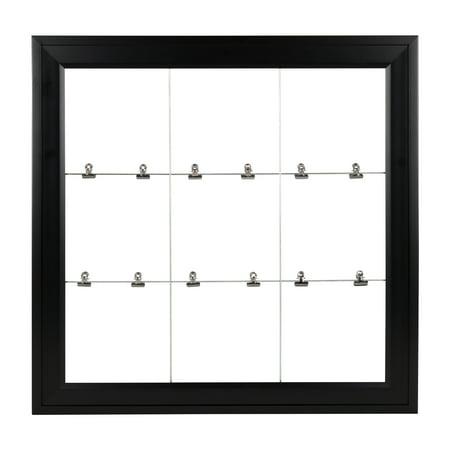 DesignOvation Bosc Framed Metal Wire Clip Photo Collage Wall Organizer, 23.5x23.5, Black (Picture Organizer)