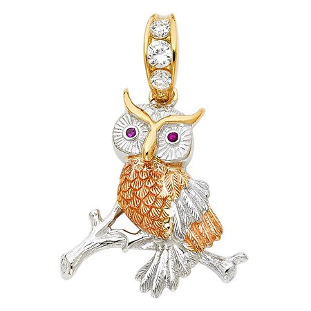 Tri Color Owl - Jewels By Lux 14K White Yellow And Rose Tri Color Gold Cubic Zirconia CZ Owl Pendant 30mm X 29mm