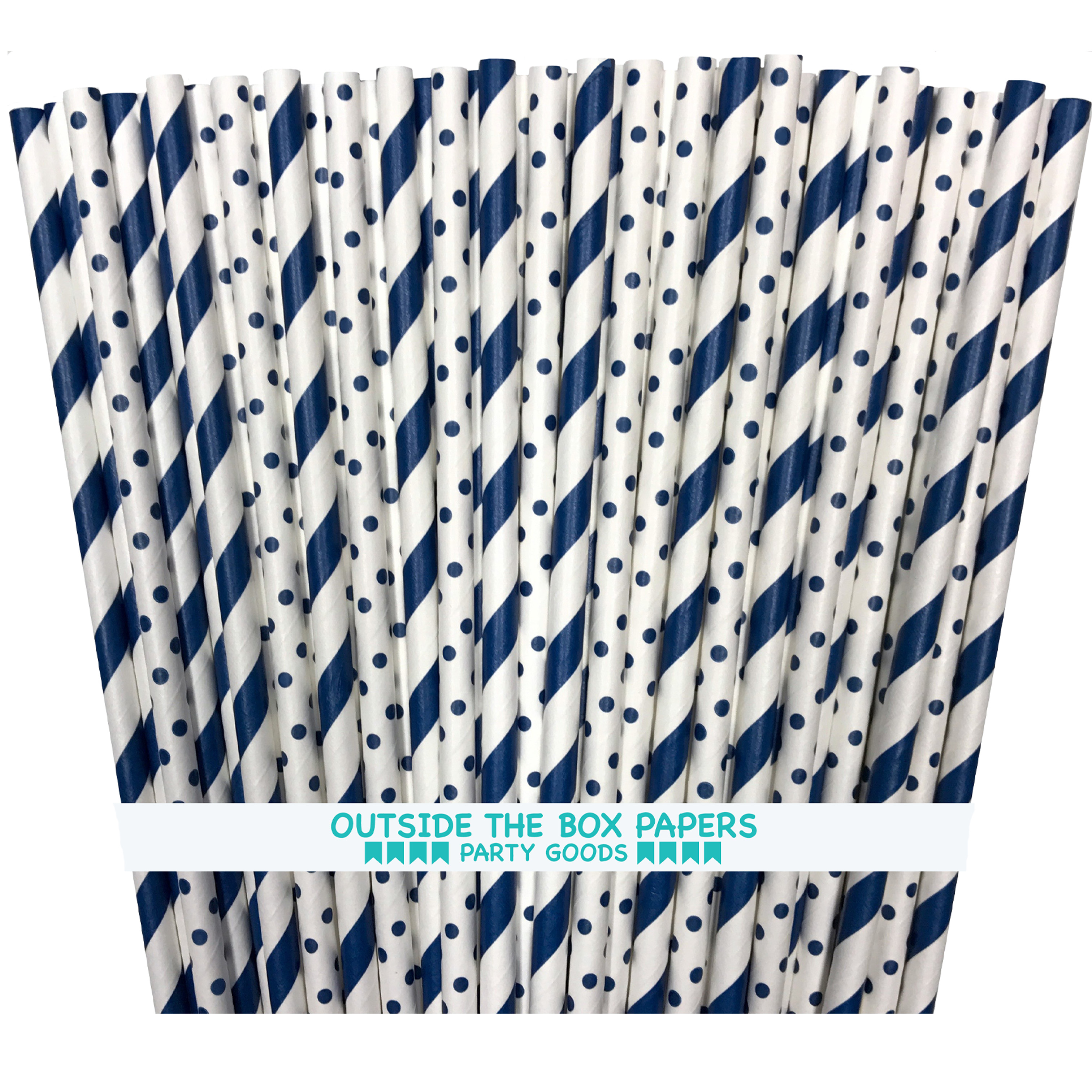 Navy Blue and White Stripe and Polka Dot Paper Straws  100 Pack