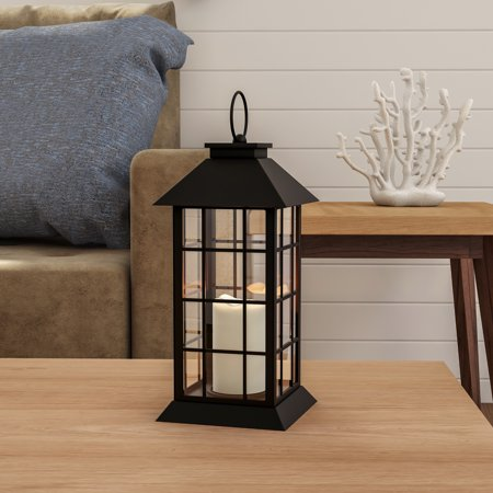 Decorative Lanterns (Decorative Candle Lantern with Vintage Grid Design- Color Changing Flameless LED Pillar Candle and Remote Control with Timer By Lavish)