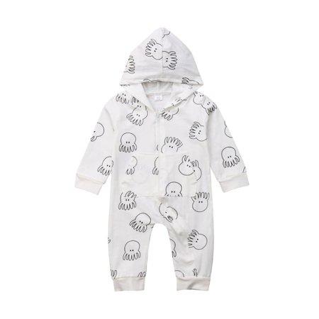 Baby Octopus Print Hooded Romper Outfits Cotton Zipper Pajama Sleeper (Back Zipper Pajamas)