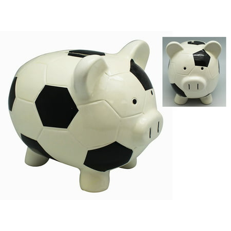 Ceramic Baseball Bank (Soccer Ball Themed Ceramic Piggy Bank)