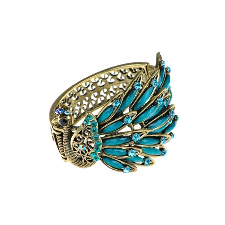 Fashion Womens Antique Golden Tone Peacock Bracelet Bangle With Turquoise Blue Crystal Rhinestone Gems