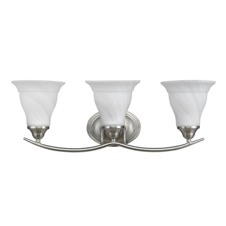 CHLOE Lighting ORELLA Transitional 3 Light Brushed Nickel Bath Vanity Wall Fixture White Etched Glass 23.5