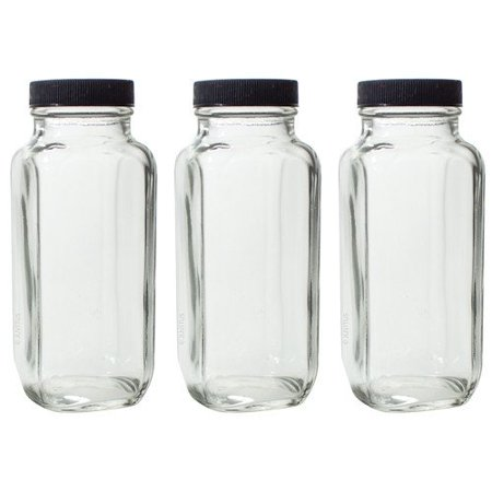 8 oz Clear Thick Plated Glass French Square Empty Bottle Jar with Lid (3 Pack) Perfect for Home, Travel, Juicing, Kombucha