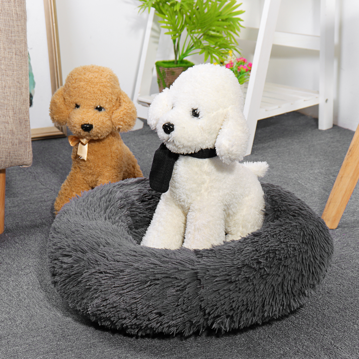 Pet Dog Puppy Bed Orthopedic Long Plush Soft Mattress Sleeping Nest Warming House Pet Cushion Mat for Dogs & Cats and Other Pets Up to 4 kg - Small