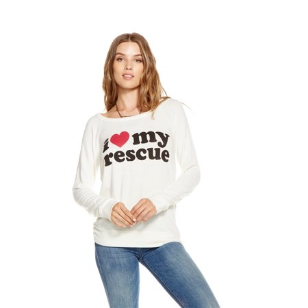 Chaser - I Heart My Rescue Raglan Drape Back Long Sleeve Shirt Cream - (Tigers Ladies Cream)
