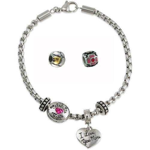 "Connections from Hallmark Stainless Steel ""I love you more"" Crystal Charm Bracelet & Your Choice of 2 Charms"